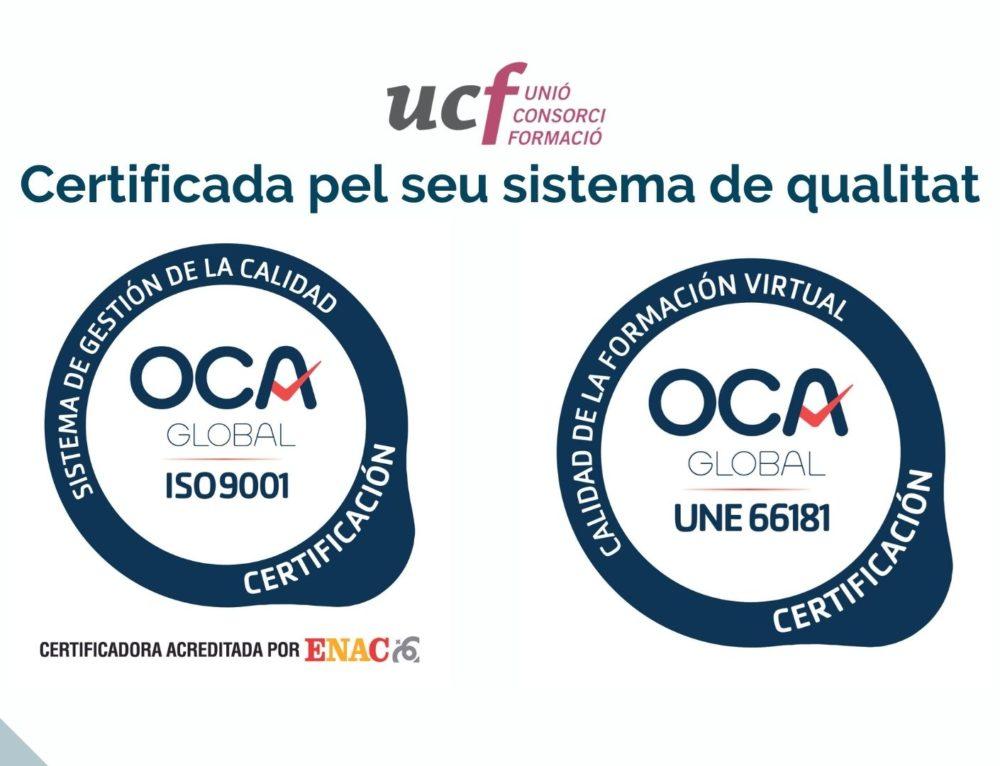 Unió Consorci Formació ha estat certificada pel seu sistema de qualitat per OCA CERT